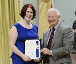 Ashleigh Quarrell receives award from Governor General