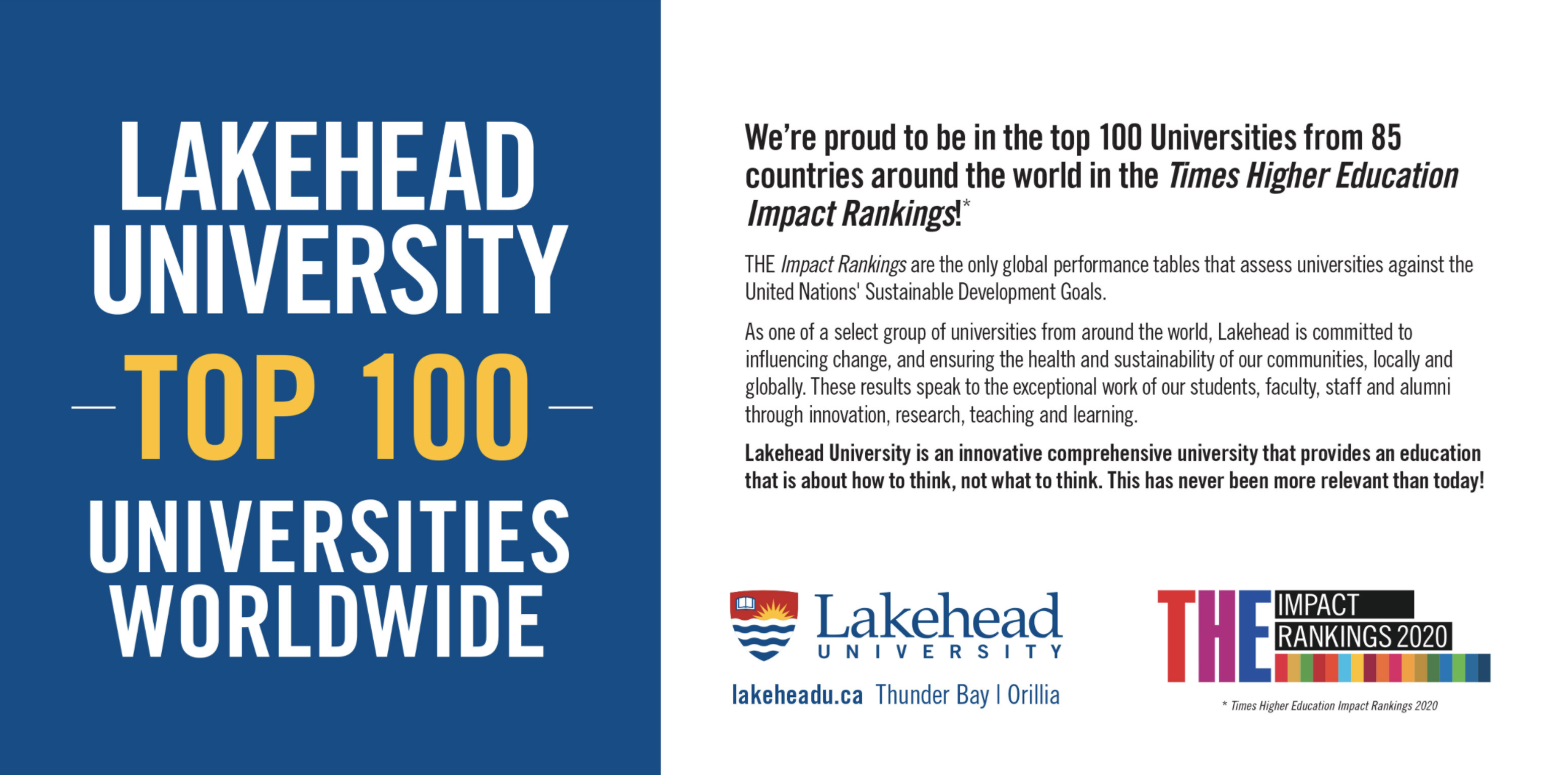 Lakehead University ranked Top 100 Universities Worldwide