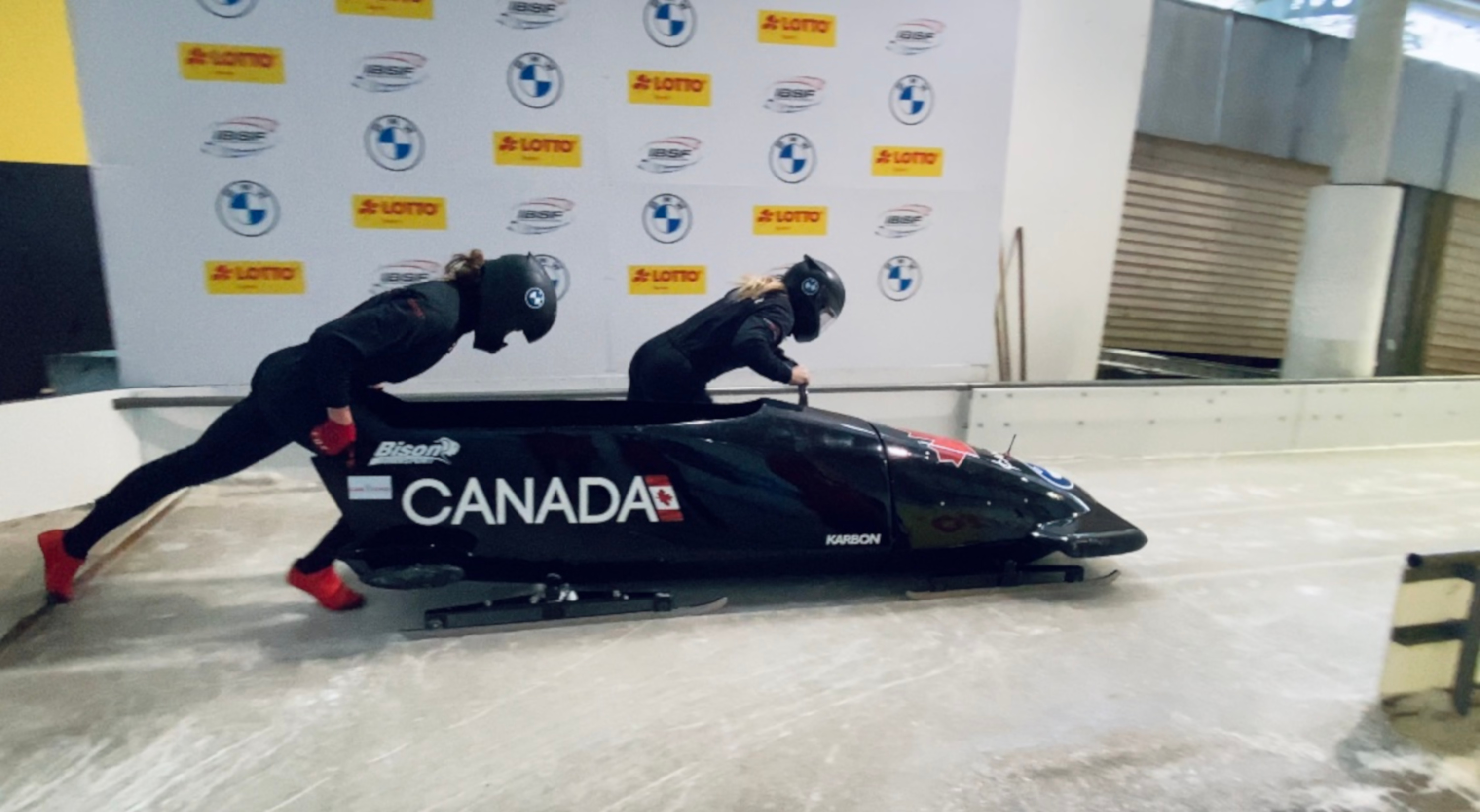 Stephanie Drost and teammate during bobsleigh practice