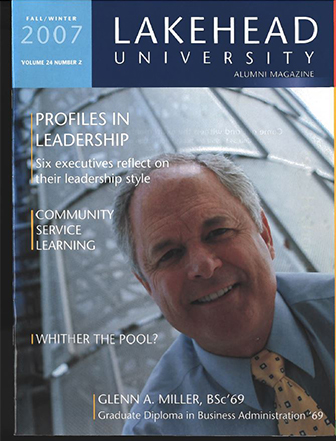 This issue of the Alumni magazine features profiles of 6 executives and their leadership styles, as well as an article on community service learning and food security.