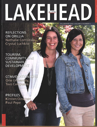 This cover features Nathalie Corriveau and Crystal Luchkiv who expand on there reflection on Orillia Campus
