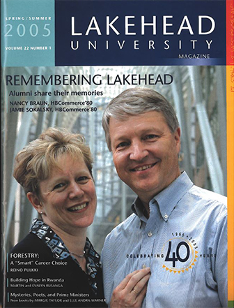 This issue of the Alumni Magazine celebrates Lakehead's 40th anniversary by featuring recollections from graduates across the decades, and a description of events that are scheduled for the Celebration Weekend.