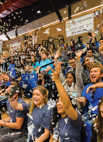 Students cheering during an orientation event