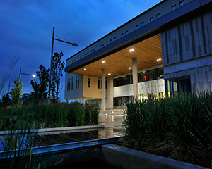 Beautifully lit building entrance at orillia campus during the early morning hours