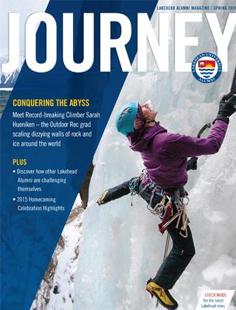 Sarah Hueniken climbing a giant ice wall