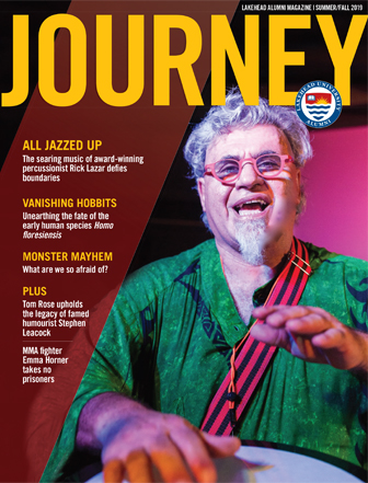 Award winning percussionist Rick Lazar on the cover of the Journey Magazine