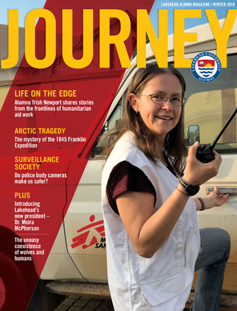 Alumna Trish Newport is featured on the cover of Journey
