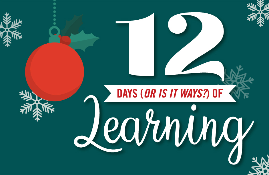 12 Days or is it ways? of Learning on green background with a red Christmas ornament