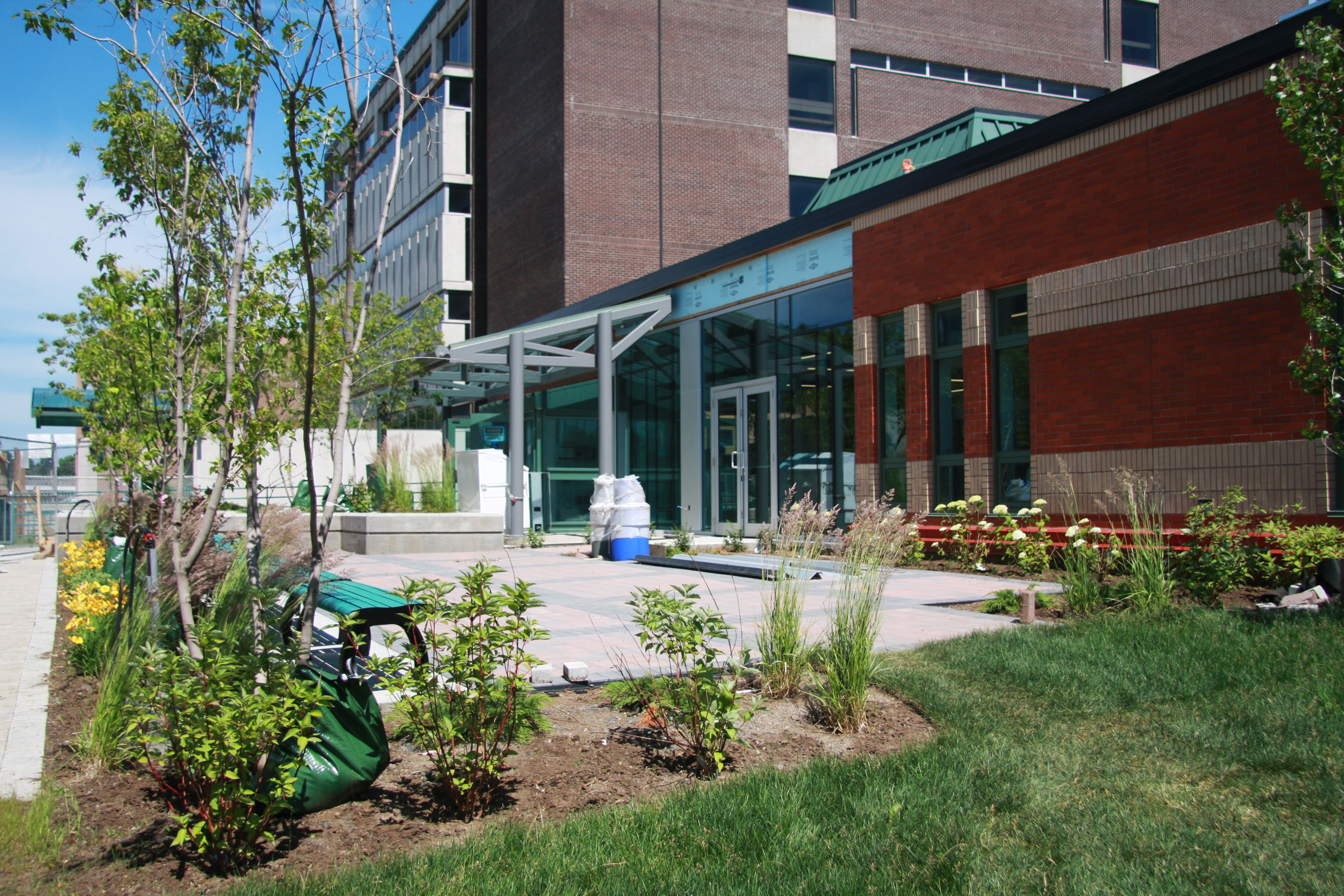 Photo of the exterior of the CASES building, back patio