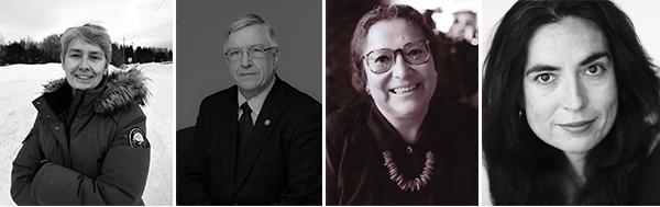 Four individuals are pictured. The first is a woman with short hair wearing a Canada Goose parka on a snowy mountaintop. The next is of a white man with glasses and gray hair wearing a dark suit and tie. The next photo is of a smiling woman with tortoise shell glasses and short hair. The last image is of a woman with long, dark hair, and a small smile.