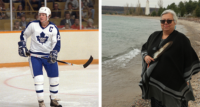 Darryl Sittler skates as a member of the Toronto Maple Leaf and Trish Monague walks along the beaches of Beausoleil First Nation