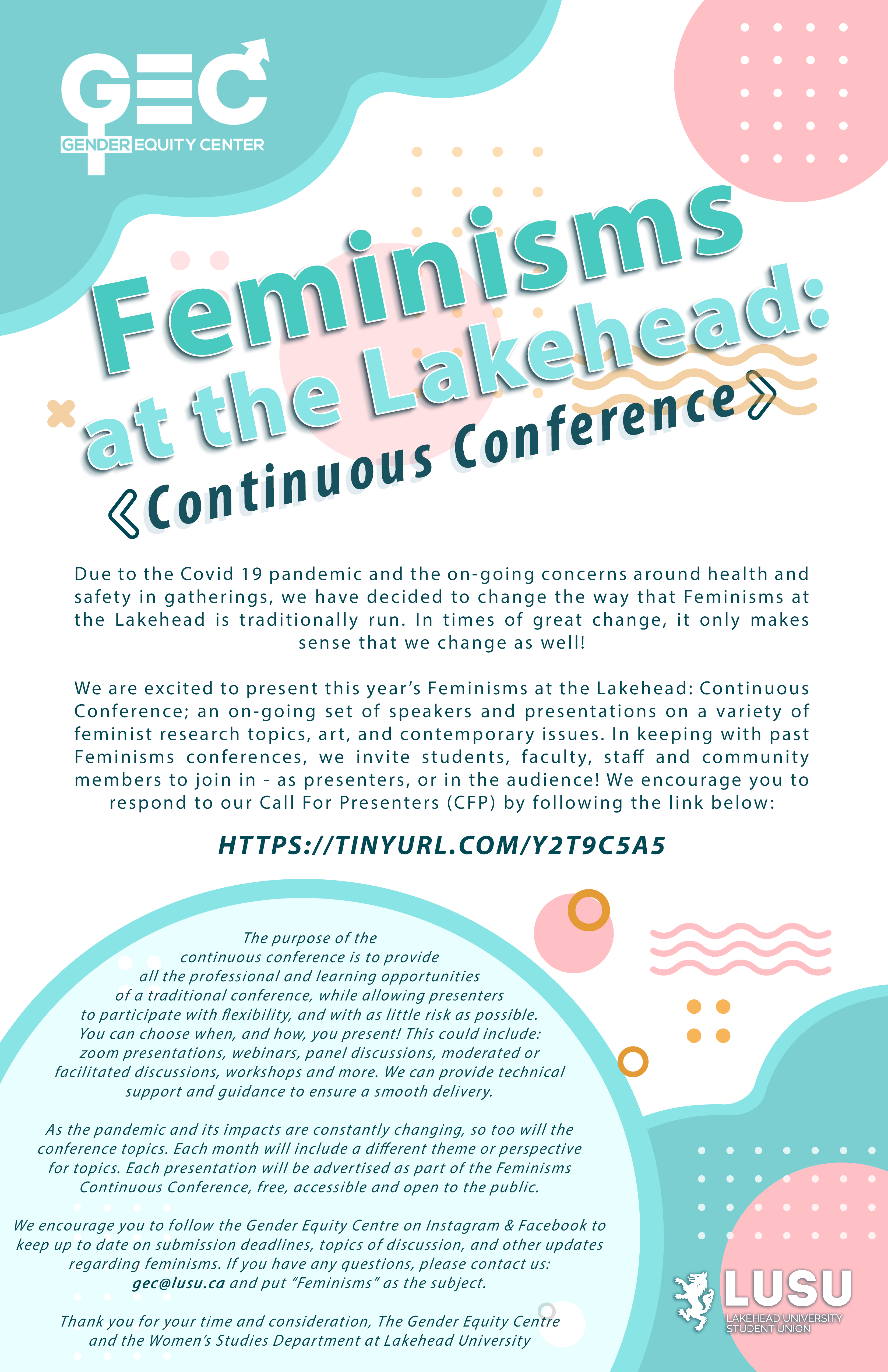 Please contact the Gender Equity Centre for alternative formating of this poster at gec@lusu.ca.