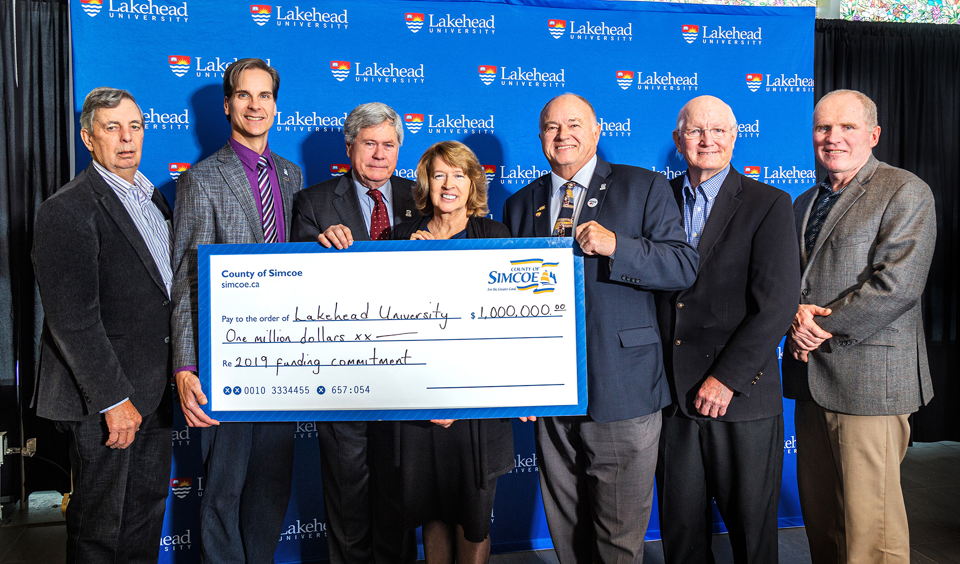 County of Simcoe Councillors presented Lakehead University with $-million gift