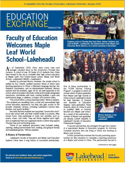January 2020 Education Exchange Newsletter