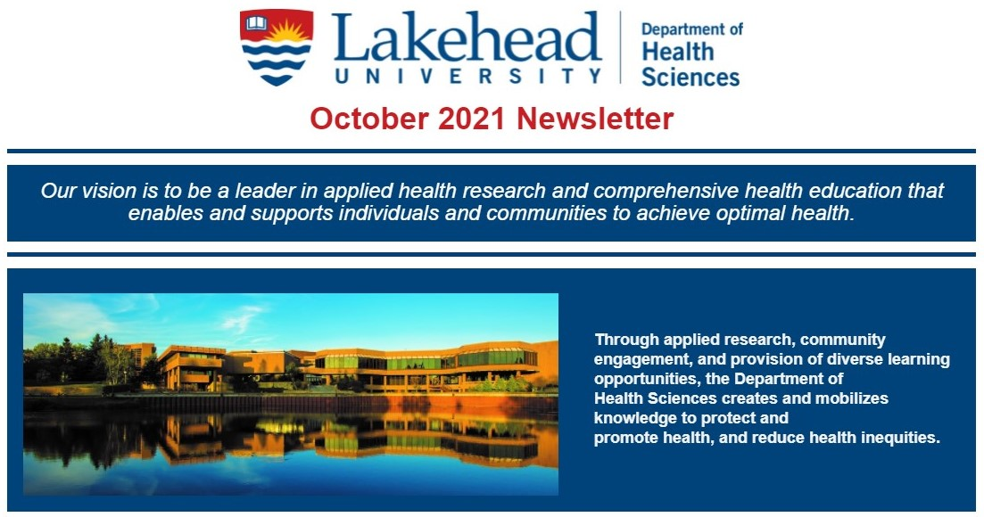 October 2021 Newsletter from the Department of Health Sciences