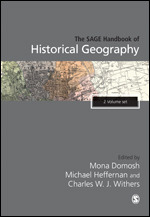 Colour photo book jacket  map on grey page for The Sage Handbook of Historical Geography
