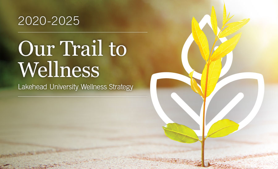 Our Trail to Wellness Lakehead University's wellness strategy on a background of a tree growing out of the earth