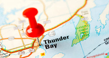A pin over Thunder Bay on a map of Canada