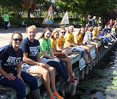 Students lined up at the Orillia waterfront