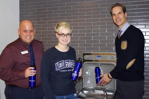 Pictured from left, Chris Glover, Director of Student Success, Theresa Vandeburgt, LUSU Vice-President Orillia, and Dr. Dean Jobin-Bevans, Principal of Lakehead Orillia, fill their reusable water bottles at one of Lakehead's water bottle refill stations.