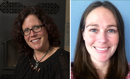 On the left is a women wearing a black cotton shirt accessorized with a necklace. She is also wearing glasses and has curly dark brown hair. On the right is a women with brown hair and blue eyes smiling against a blue background.