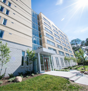 A view of of an entrance to our Orillia campus residence buildings