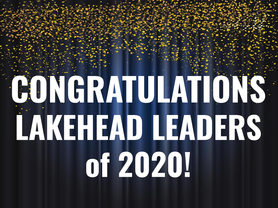 Banner with confetti saying Congratulations Lakehead Leaders of 2020!