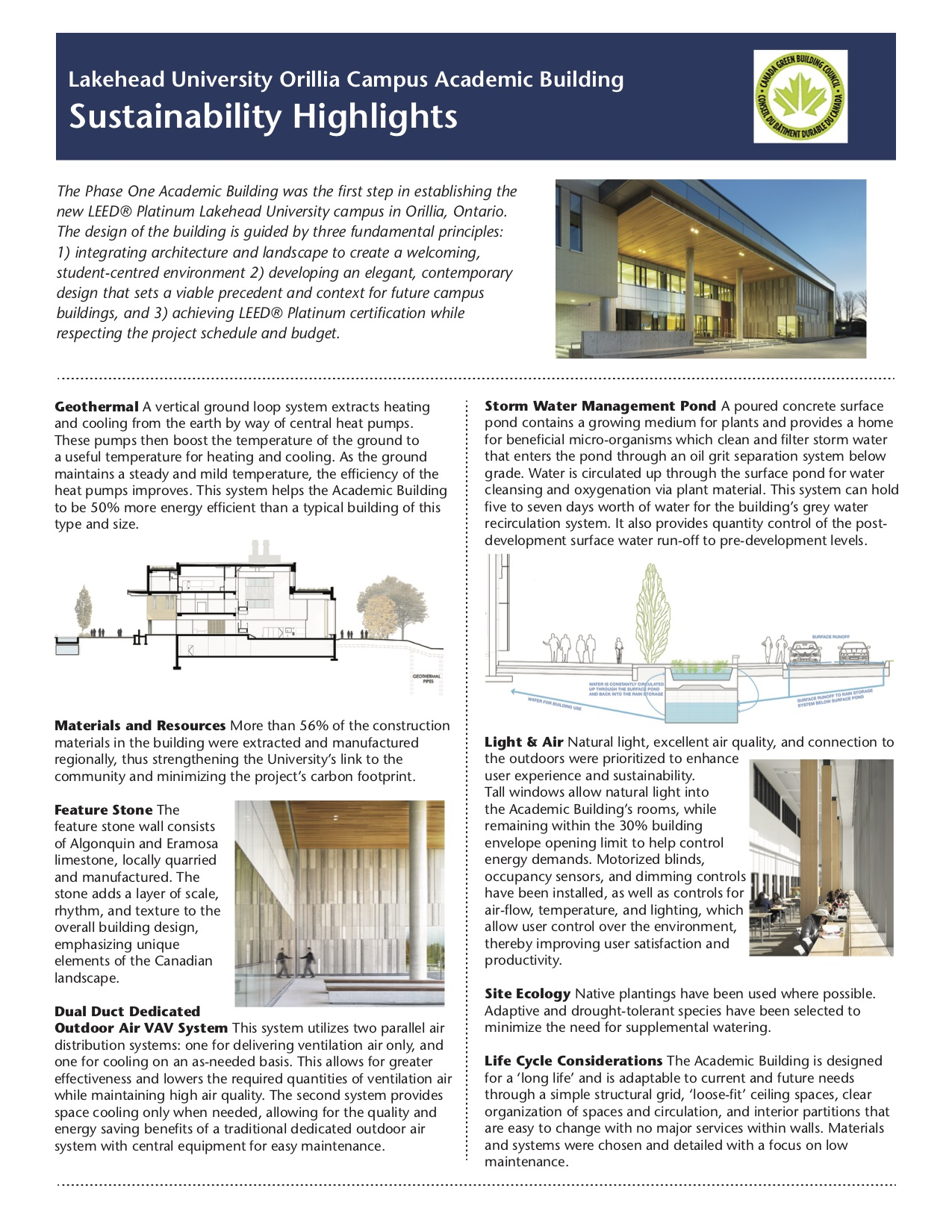 A handout about the LEED Platinum campus in Orillia