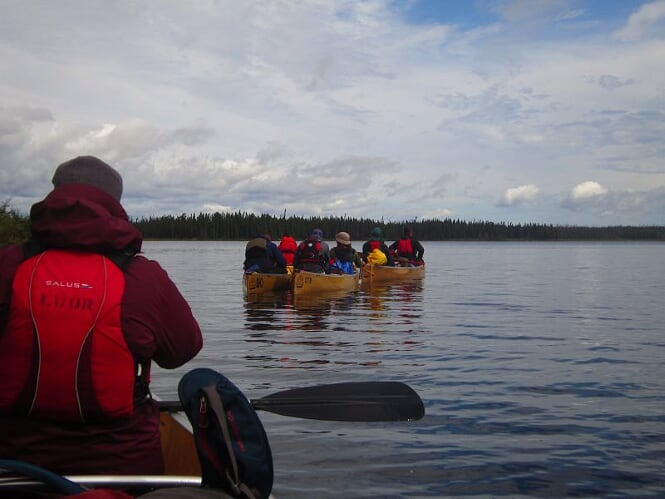 Students canoeing in Wabakimi - view of their backs