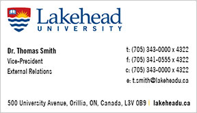 Lakehead Business Card example