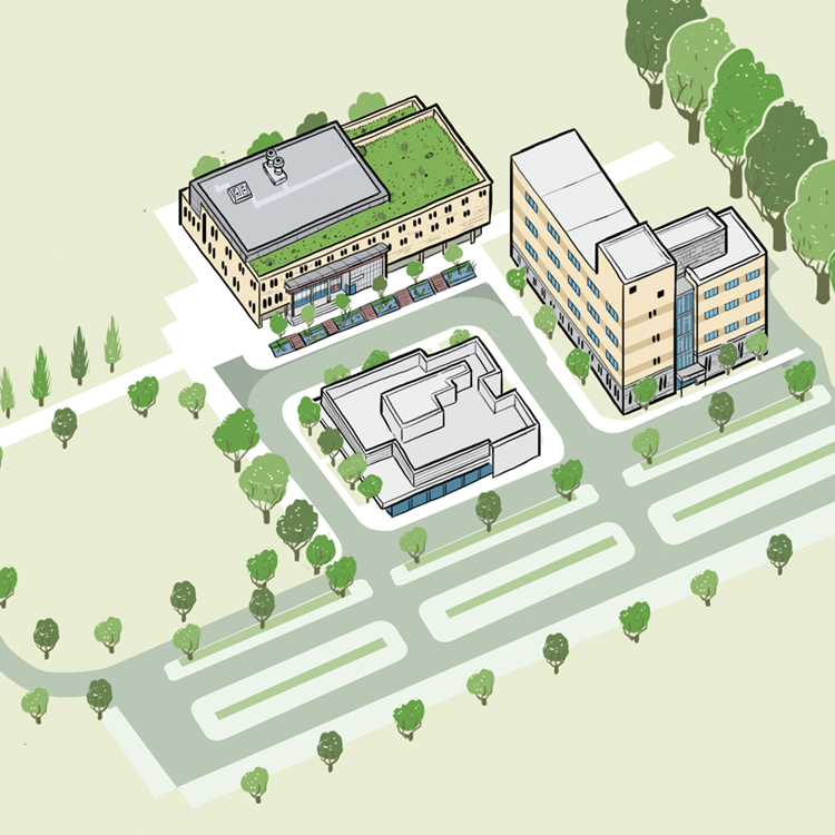 An artistic rendering of the Orillia campus. It contains happy little trees and the buildings around Orillia Campus