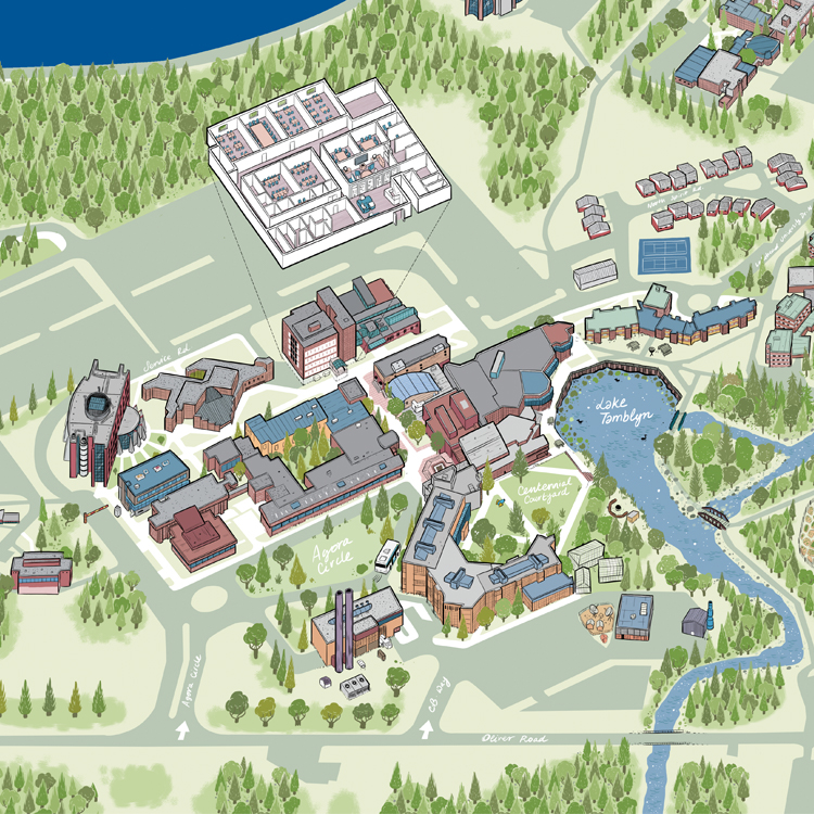 An artistic rendering of the Thunder Bay campus. It contains happy little trees and the buildings around Thunder Bay Campus