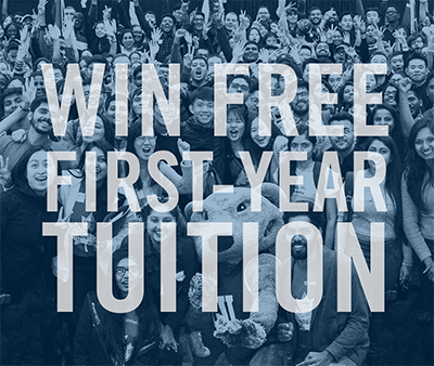 "Image of a group of excited students with the text ""Win free tuition"" over them"