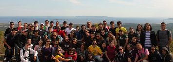 International Students gathered in front of the sleeping giant