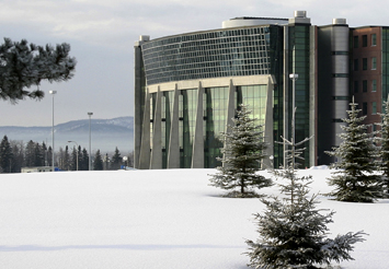 Thunder Bay Campus ATAC Building in soft winter snow