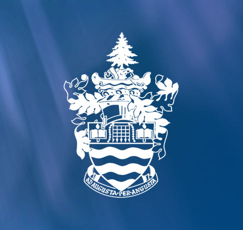 The Lakehead University Presidential seal on top of a northern lights background