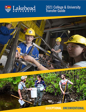 The cover of our 2021 Transfer booklet features engineering students working on a metal frame as well as Natural Resource Management students in the wild.