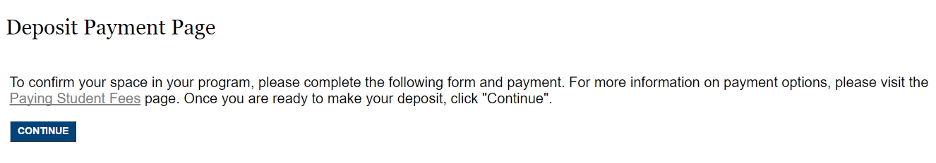 Screenshot of Deposit Payment Page