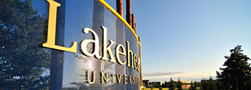 A beautiful shot of the Thunder Bay campus signage during a late afternoon