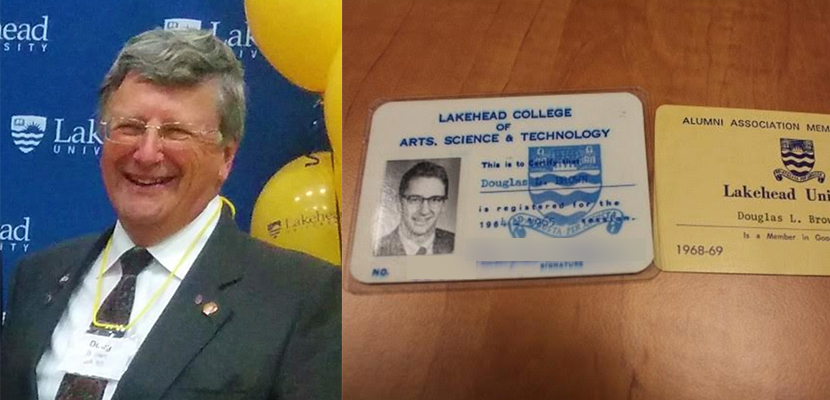 Lakehead alumn Douglas Brown beside his 60s era student cards