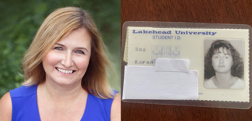 Lakehead Alumn Karen Boz and her student card