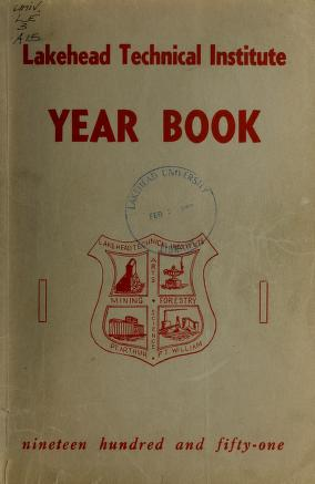 Lakehead Technical Institute Yearbook Cover from 1951