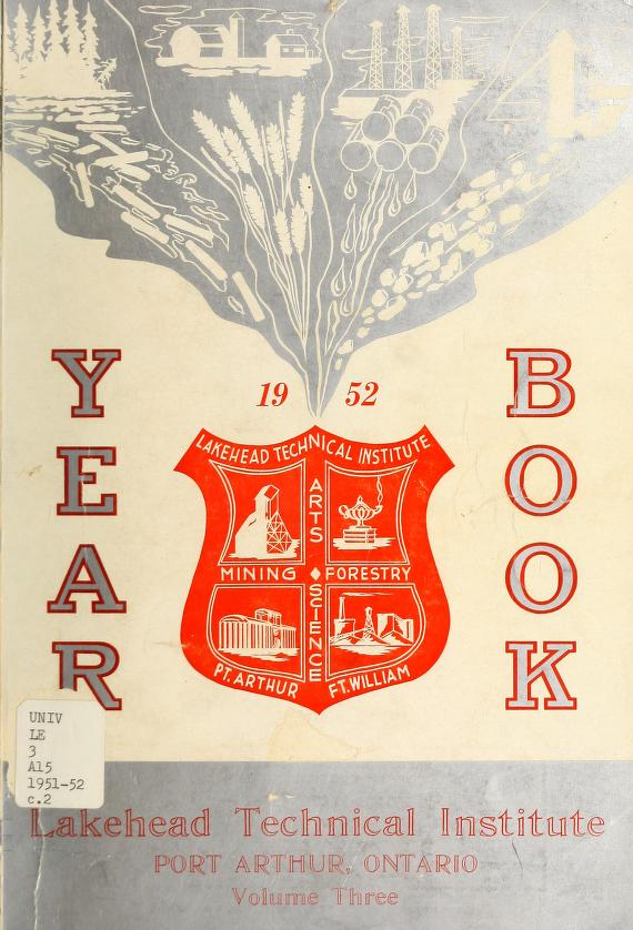 Lakehead Technical Institute Yearbook Cover from 1952