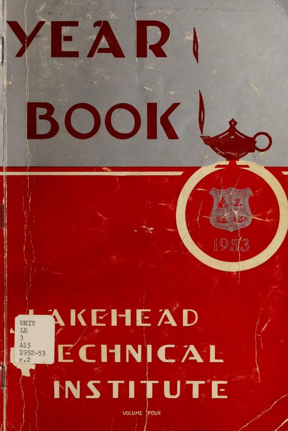 Lakehead Technical Institute Yearbook Cover from 1953