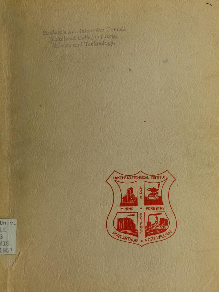 Lakehead Technical Institute Yearbook Cover from 1957