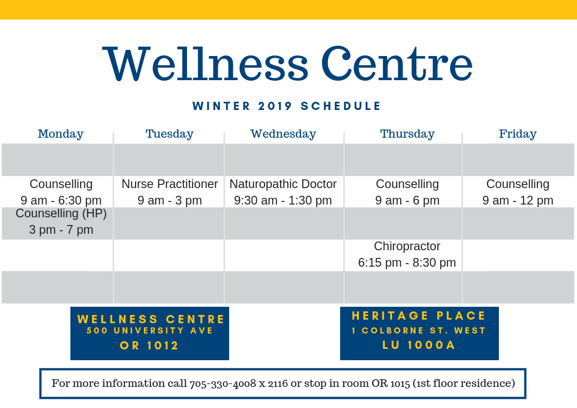 Wellness Schedule 2019