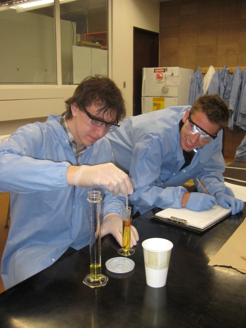 Students at the Biology labs