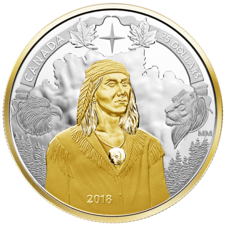 Photo of a coin featuring Tecumseh, designed by a Lakehead student.