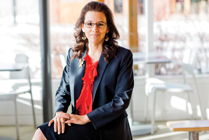 Photo of Lakehead University's second Dean of the Bora Laskin Faculty of Law, Angelique EagleWoman.