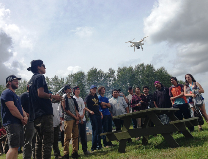 photo of students flying a drone